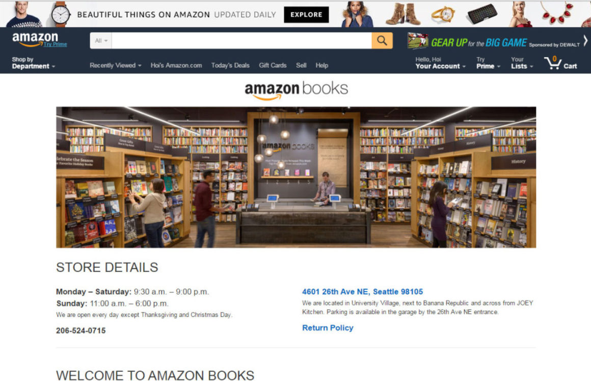 Nya bud om Amazons planer på fysiska butiker