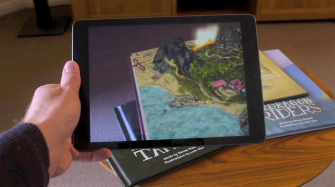 Drakar flyger ut ur barnbok med AR-app