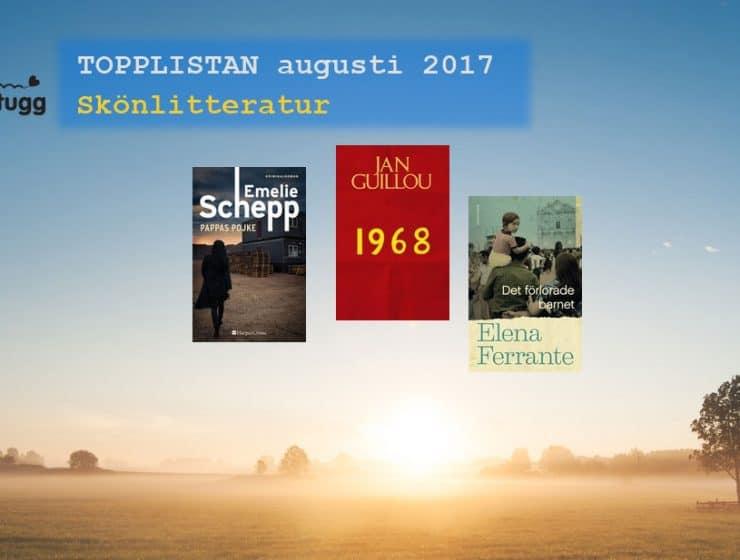 Topplista mest sålda skönlitterära böckerna i Sverige augusti 2017