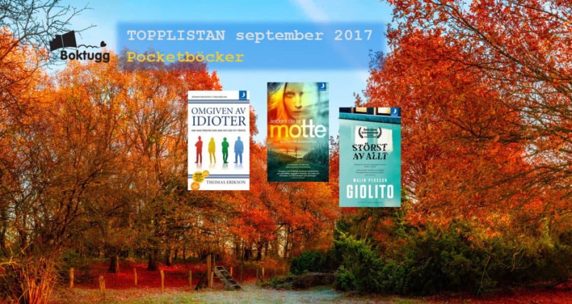 Topplistan September 2017 – De 20 mest sålda böckerna i Sverige – Pocketböcker