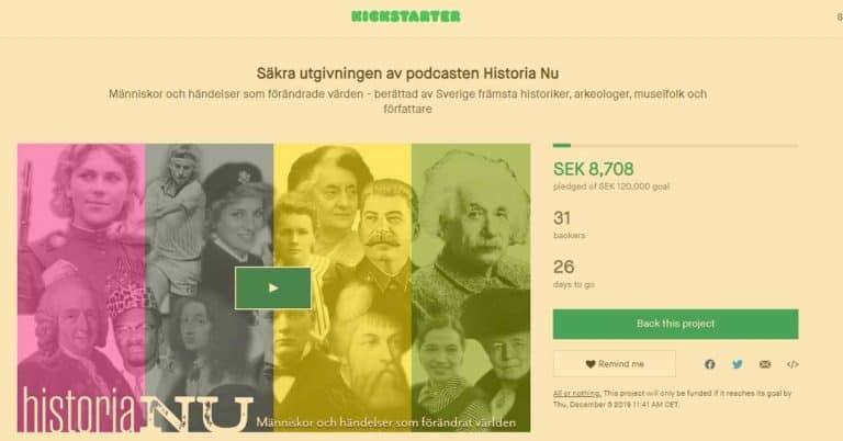 Historisk kickstarter för att utveckla podden Historia Nu