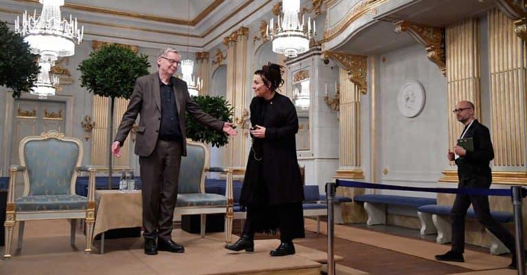 Upprörd Handke och stolt Tokarczuk vid pressträff om Nobelpriset