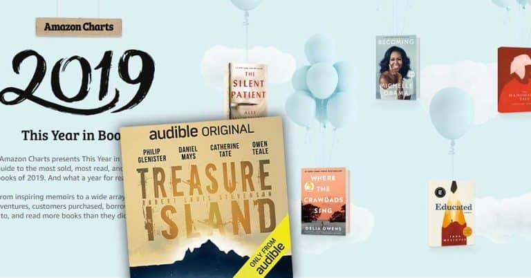 Skattkammarön som radioteater-ljudbok tredje mest sålda boken på Amazon Charts 2019