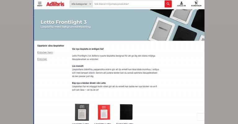 Nu är nya Adlibris Letto här – men Frontlight 3 skrämmer inga konkurrenter