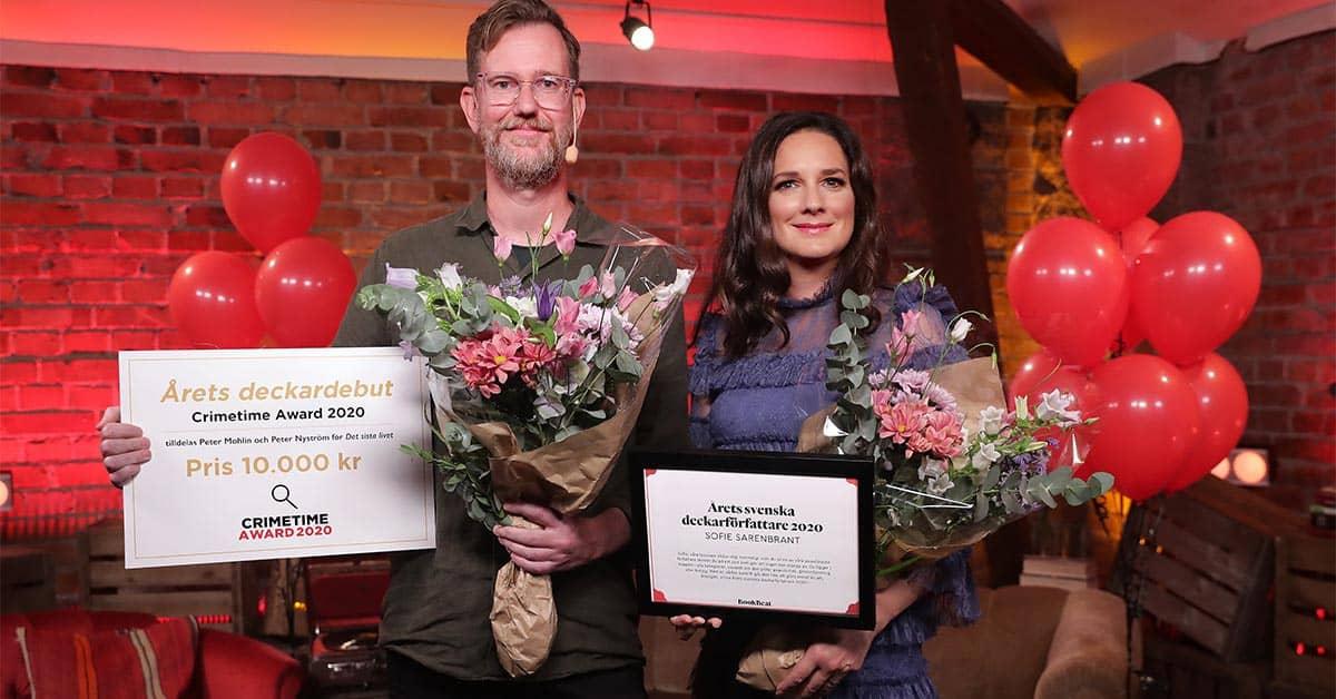 Peter Mohlin och Sofie Sarenbrant fick priser vid Crimetime Award 2020.