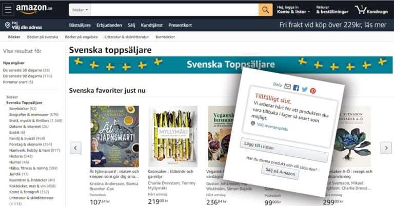 Många förlags böcker syns på Amazon men går inte att beställa