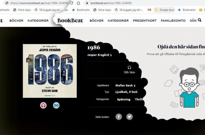 Det blev ett kortvarigt besök på Boookbeat för Storytel Original-titlar som 1986. Efter Boktuggs artikel igår försvann de. Här är före och efter på Bookbeats hemsida eftersom ljudboken avslutades med reklam för Storytel. Skärmdump och montage: Boktugg.