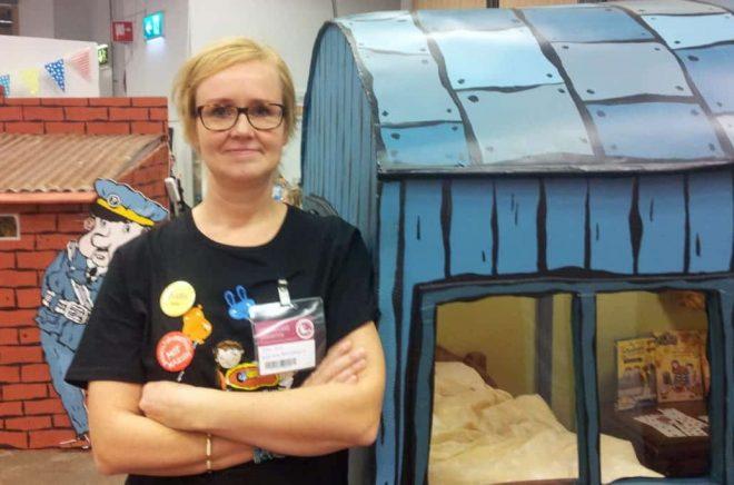 Klara Svae från Barnutställningar.nu på Bokmässan 2017. Foto: Anna von Friesen.