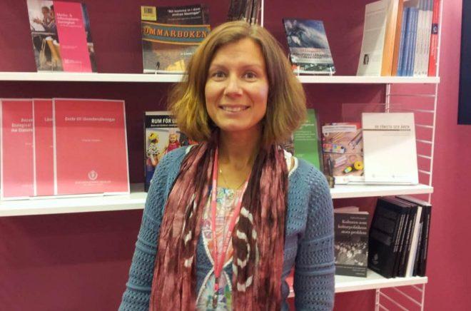 Maria Ringbo från Bibliotekshögskolan i Borås, på Bokmässan 2017. Foto: Anna von Friesen.