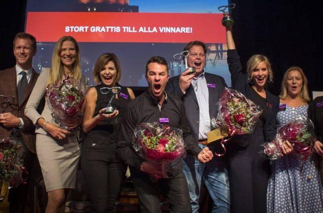 Alla vinnare på Crimetime Specsavers Award 2018: Niklas Natt och Dag, Lisa Marklund, Agnes och Elias Våhlund, Jørn Lier Horst och Emelie Schepp samt Rebecka Edgren Aldén och Josefine Sundström. Foto: Foto: Niklas Maupoix