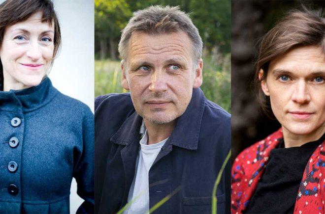 Pija Lindenbaum (fotograf: Ulrica Zwenger), Jakob Wegelius (foto: Bruno Wegelius) och Frida Nilsson (foto: Ellinor Collin) är tre av fjorton svenskar som är nominerade till ALMA-priset 2021.