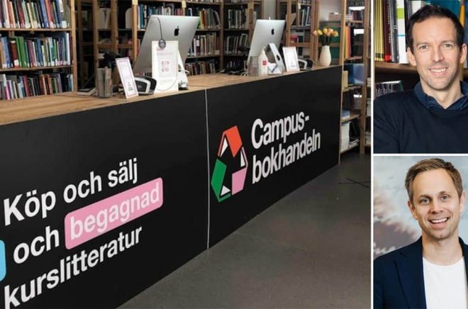 Fredrik Hagenius, VD Campusbokhandeln (övre bild) säljer sitt livsverk till Adlibris. Jonas Karlén, VD Adlibris (nedre bild). Foto: Pressbild.