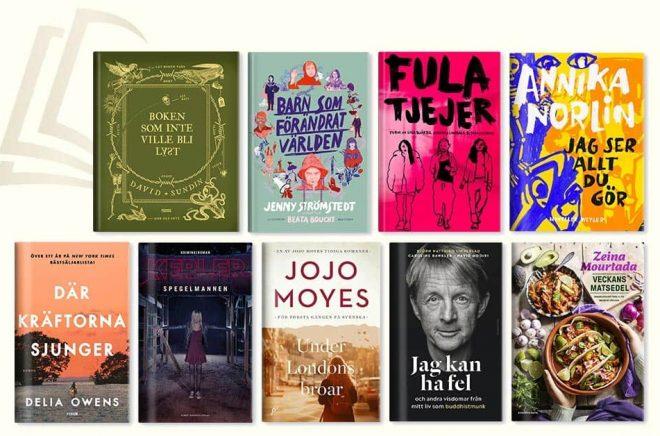 Nio populära böcker som röstats fram till vinnare i Adlibrispriset 2020. Pressbild.