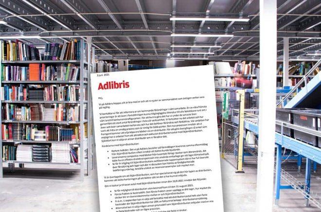 Förra året försvann kommissionsavtalet. Nu försvinner möjligheten för småförlag att ha egen distribution då Adlibris ställer krav på att alla förlag anlitar en distributör som Adlibris har avtal med. Foto: Adlibris. Montage: Boktugg.