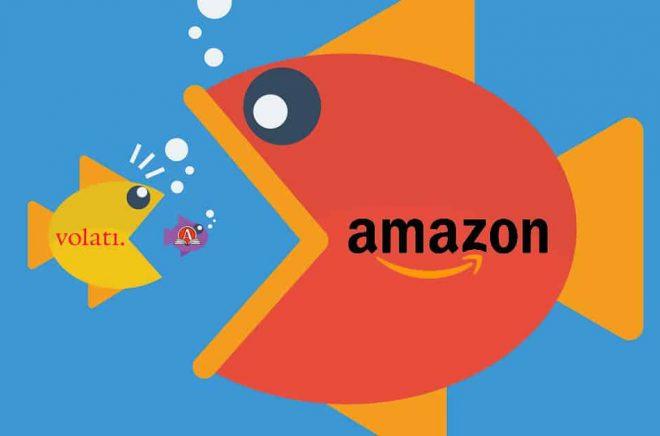 En snabb väg in på den svenska bokmarknaden för Amazon skulle förstås vara att svälja Akademibokhandeln och Bokus. Då får de både den näst största nätbokhandeln och en butikskedja för en billig peng. Illustration: iStock. Bildmontage: Boktugg.