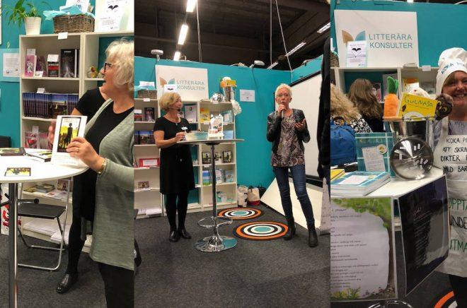 Ann Ljungberg (till vänster på bilden i mitten) fick med sig ett flertal författare på resan från idé till bok som resulterade i att de hade bokrelease på löpande band i montern på Bokmässan i Göteborg 2018.
