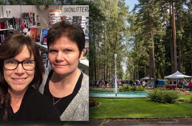 Anna-Karin Svartengren och Maria Dahlqvist driver Hällefors Bokhandel och har hittills även skött biblioteket och turistbyrån på entreprenad åt kommunen. Bakgrundsfoto från Krokbornparken i Hällefors: Margit Kluthke/iStock.