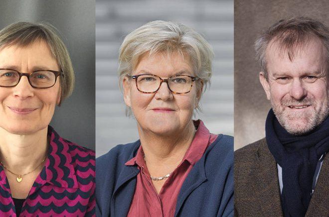 Ordföranden för Augustprisets tre jurygrupper 2019: Gunnel Furuland (foto: Sanja Salcic), Gunilla Herdenberg (foto: Jann Lipka) och Björn Sundmark (foto: Håkan Röjder).
