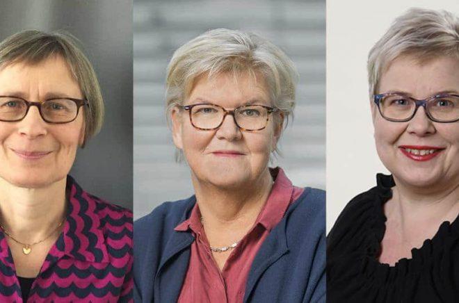 Ordföranden för Augustjuryerna 2020: Gunnel Furuland (foto: Sanja Salcic), Gunilla Herdenberg (foto: Jann Lipka) och Mia Österlund (foto: Rolf Niskanen).