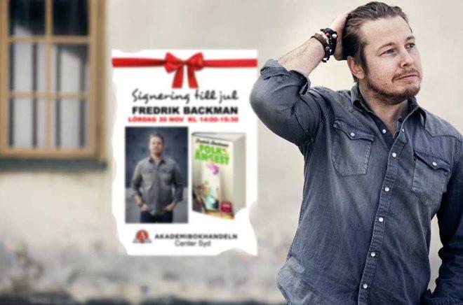 Författaren Fredrik Backman tycker att bokhandeln är viktig. I helgen signerar han i två bokhandlar i Skåne. Foto: Linnéa Jonasson Bernholm. Montage: Boktugg.