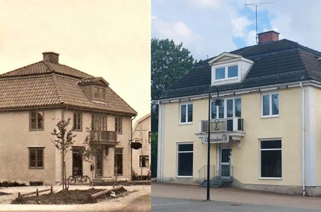 Till vänster Bergs bokhandel 1930, till höger 2019 - inom kort Hällefors bokhandel.