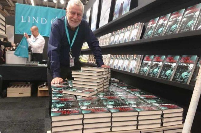 Björn Hellberg i Lind & Co:s monter på Bokmässan 2017. Foto: Sölve Dahlgren