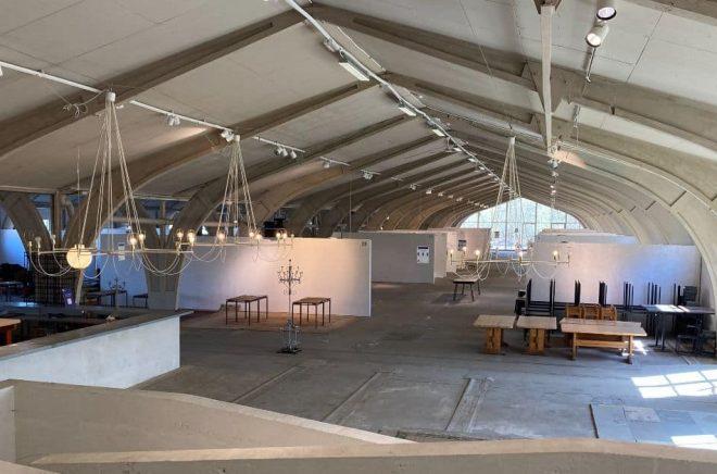 Här, i den gamla fabrikslokalen Blå hallen, kommer Höganäs Summer Book Festival att hålla hus i helgen. Foto: Liselotte Fritz