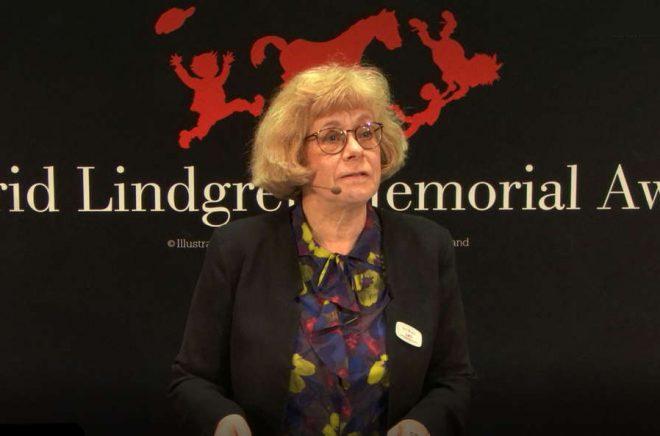 Juryns ordförande Boel Westin vid förra årets tillkännagivande av ALMA-priset. Foto: Stefan Tell