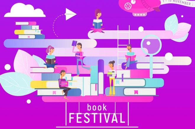 Litteraturfestivaler, bokmässor och litterära evenemang med böcker och författare i centrum. Illustration: iStock.