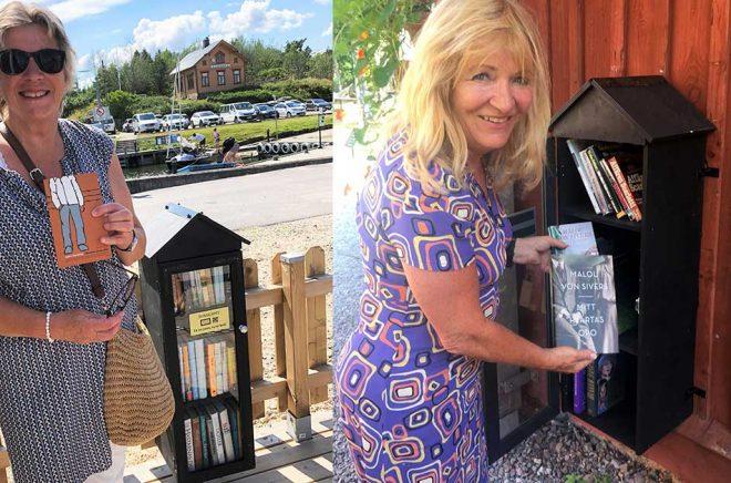 Marie Egnell (foto: Victor Estby) och Malou von Sivers (foto Malin Robertson Harén) är två av många som hittade bokfynd i de dalsländska bokskåpen.