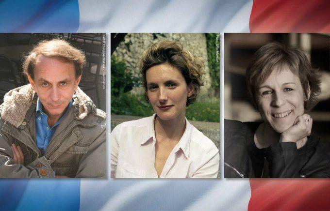 Michel Houellebecq (foto: Philippe Matsas/Flammarion), Anna Gavalda (foto: Ulla Montan) och Agnès Ledig (foto: Guillaume Mouchet). Fotocollage: Bonnierförlagen