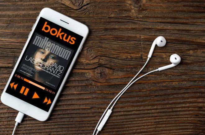 Våren 2018 lanserar Bokus en ljudbokstjänst för mobiltelefoner. Kommer den att se ut något i stil med det här? Foto: Fotolia. Bildmontage: Boktugg.