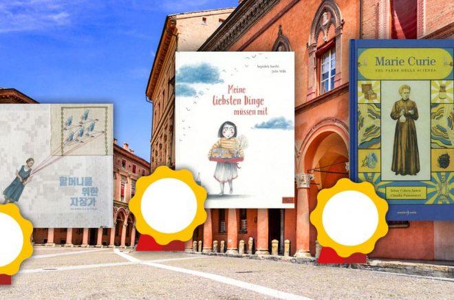 Några av vinnarböckerna vid BolognaRagazzi Awards 2020. I bakgrunden (foto: iStock) San Stefano-torget i Bologna.