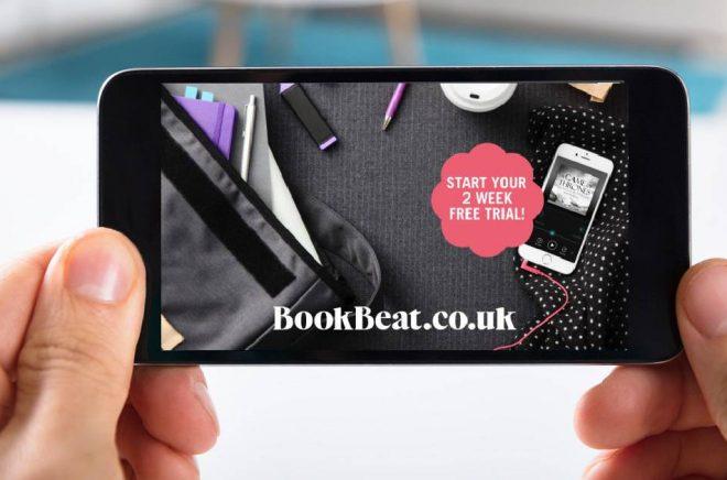 BookBeat vill lära britterna att lyssna på ljudböcker i mobilen och se fördelen i en tjänst med obegränsad lyssning. Foto: Fotolia. Bildmontage: Boktugg.