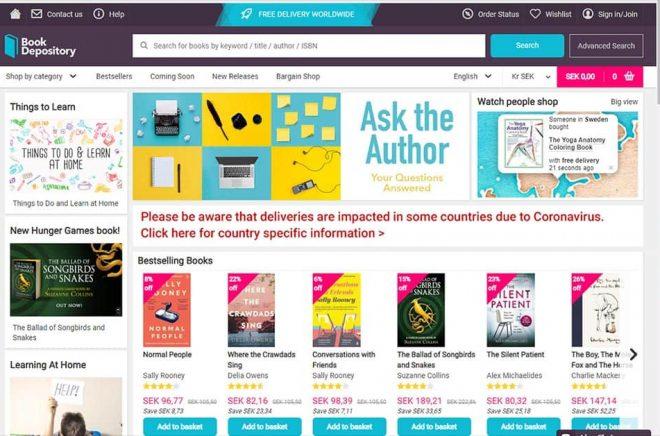 Sajten är på engelska men som du ser säljs redan böcker till Sverige (som när denna skärmdump togs).
