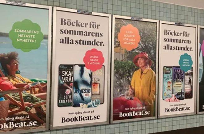 Reklam för Bookbeat i tunnelbanan. Det senaste året har vi vant oss vid att se prenumerationstjänsterna marknadsföra sig med stortavlor och tv-reklam. Foto: Pressbild.