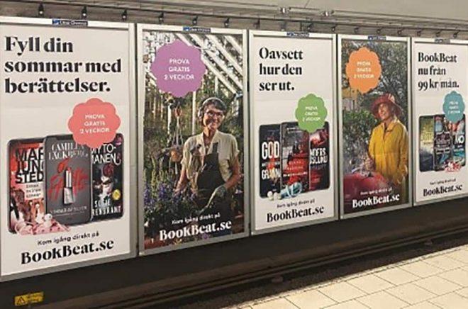 Bookbeat marknadsför sig intensivt under sommaren, bland annat i tunnelbanan. Foto: Pressbild.