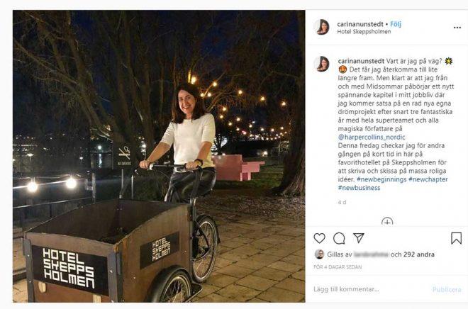 Ute och cyklar? Nej, Carina Nunstedt har säkerligen en plan för vad hon ska göra när hon lämnar HarperCollins Nordic i sommar. Foto: Carina Nunstedts Instagram.