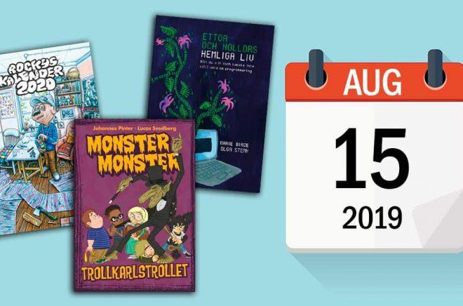 Den 15 augusti 2019 utkommer det ovanligt många böcker. Bakgrundsfoto: iStock. Montage: Boktugg.