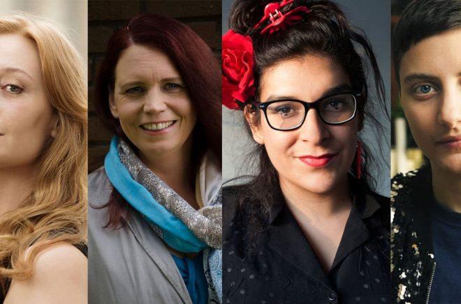 Några debutanter i januari 2018. Från vänster: Lin Jansson (foto: Ola Kjelbye), Åsa Ringdahl (foto: Charlotta Söderbom), Yolanda Bohm (foto: Casia Bromberg) och Nino Mick (foto: Nadim Elazzeh 2017).