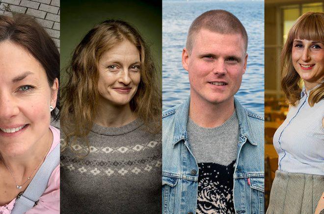 Debutanter i augusti-september 2018: Sofia Pihlsgård, Helena Hedlund (foto: Kicki Nilsson), Linus Löfgren, Sabine Louvet (foto: Jan-Åke Eriksson).