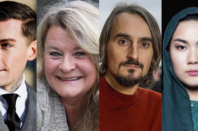 Några av de författare som debuterar i juni: Niklas Mesaros (foto: Hugo Thambert), Elisabeth Öhman (foto: Anita Tingskull), Andreas Fock (foto: Jan-Åke Eriksson), Fatemeh Khavari (foto: Göran Segeholm).