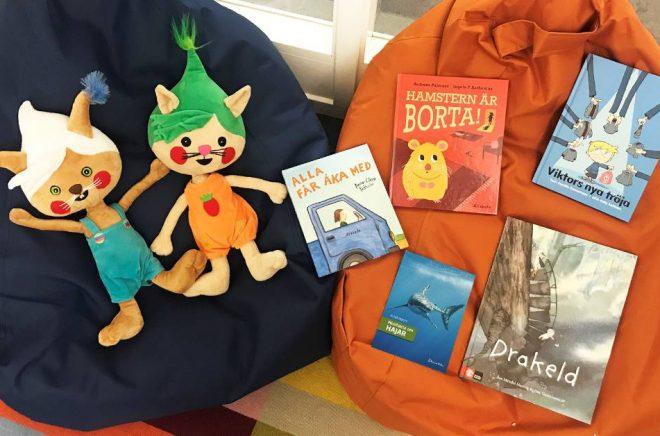 Förskolebarnens fem favoriter av de böcker som valts ut till Förskolebarnens litteraturpris 2019. Foto: ILT Inläsningstjänst
