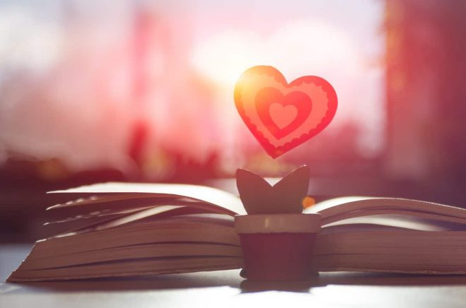 symbol of love red heart in the form of a flower stands near an open old book on a background of a blurred window in the yellow rays of the sun