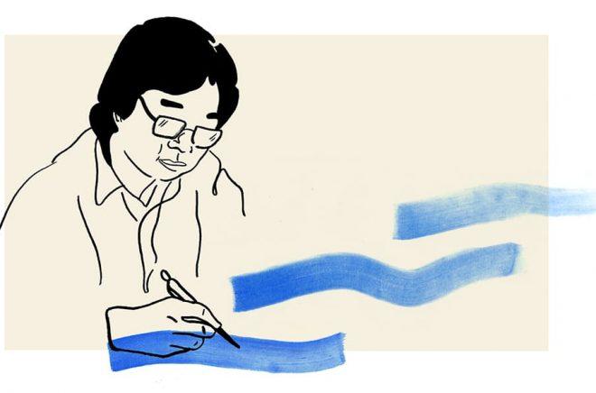 Ett porträtt föreställande den fängslade förläggaren Gui Minhai. Illustration: Hanna Stenman.