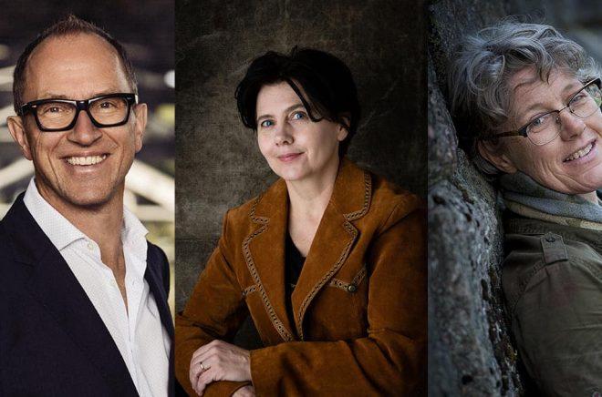 Tre Hoi-författare som deltar i den digitala bokmässan är Håkan Lindgren (foto: Peter Cederling), Lisa Hågensen (foto: Anette Juhlin) och Annika Andebark (foto: Håkan Olsén).