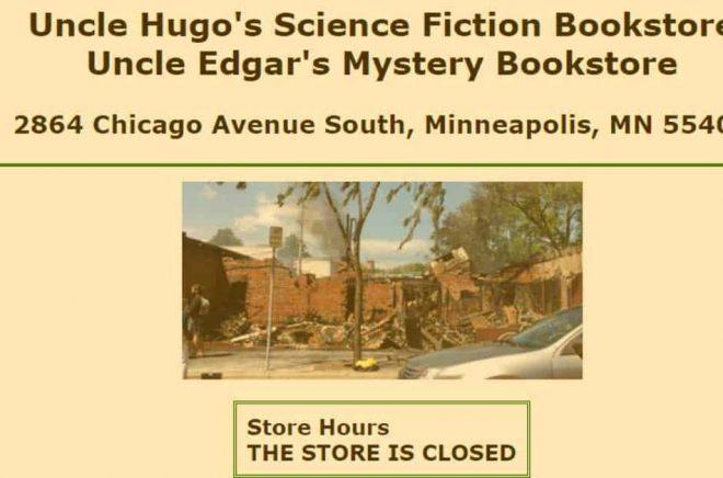 Sorgliga nyheter från Minneapolis - en av de mest älskade oberoende bokhandlarna i USA brändes ner till grunden under kravaller i stan.