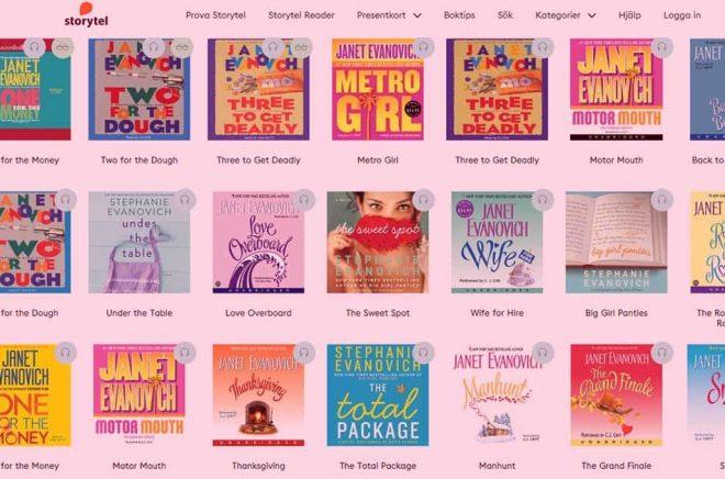 Bästsäljande amerikanska författaren Janet Evanovich ryktas få över 50 miljoner dollar i förskott för fyra böcker. Hennes böcker finns hos svenska prenumerationstjänster - men bara på engelska. Bild: skärmdump Storytel.