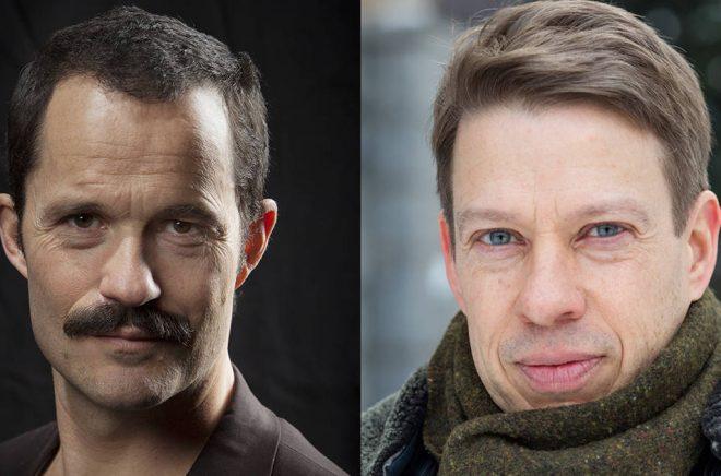 Jens Liljestrand (foto: Fredrik Hjerling) och Fredrik Hertzberg (foto: Janne Rentola/SLS) är två av författarna som tilldelats pengar av Svenska Akademien.