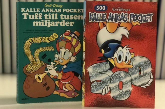 Den allra första utgåvan av Kalle Ankas pocket från 1968, och nummer 500 från 2020. Foto: Jonas Lidheimer/Egmont Publishing